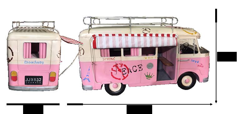 商品サイズ:ピンクワゴンのオブジェ